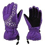 Damen Winter Kalt Warme Handschuhe,ANGTUO Wasser Spritzen Ski Handschuhe Schneeflocke Printing Weihnachten Handschuhe