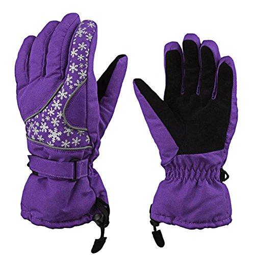 Guantes de invierno frío de invierno de señoras, ANGTUO guantes de esquí de chapoteo de agua impresión de copo de nieve guantes de Navidad
