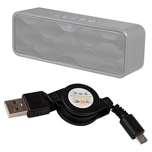 DURAGADGET Cable MicroUSB Retráctil para Altavoz Portátil ZoeeTree S1, Zoee S2