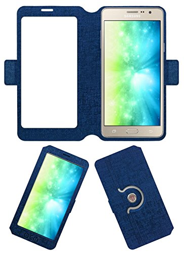Acm SVIEW Window Designer Rotating Flip Flap Case for Samsung Galaxy On7 Pro Mobile Smart View Cover Stand Blue