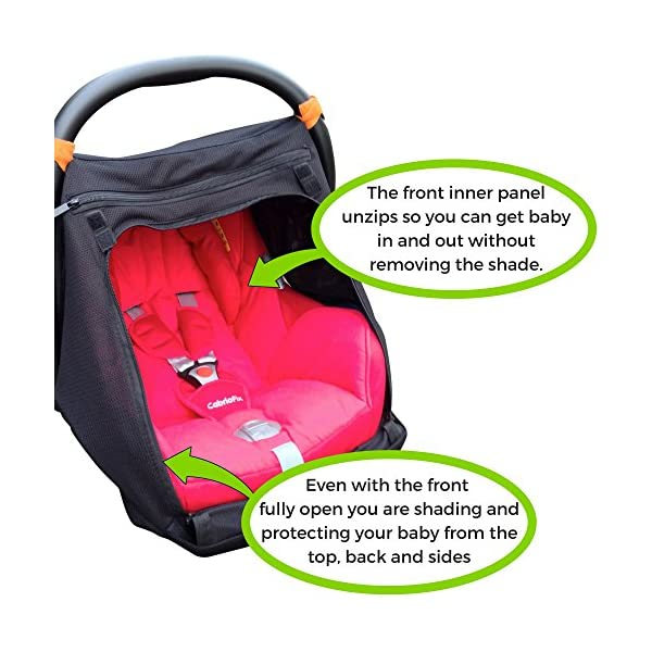 SnoozeShade Baby Car Seat Canopy | Sunshade and Baby Blackout Blind for Group 0/Plus Infant Car Seats and Carriers | Blocks 99% UV SnoozeShade Did you know that doctors worldwide recommend keeping babies under 6 months out of direct sunlight completely? Our SnoozeShade car seat cover makes it easy to do. It's a sun and sleep shade designed to use with infant carriers with a rigid handle and also protects baby from wind, chill, insects and light rain Our car seat canopy does two important jobs - it helps baby sleep AND protects baby from the sun (99% of UV is blocked). 4
