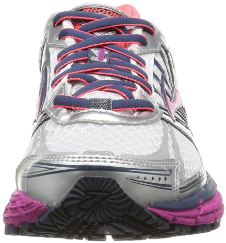 Brooks Browar Timing Systems - Adrenaline GTS 14 W, Scarpe da Corsa Donna Rosa (White/Fuschia/Midnight)