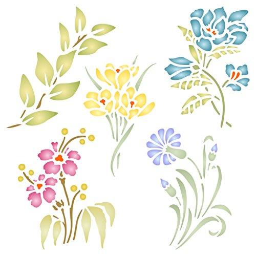 Juego de plantillas de flores – Plantilla de flores reutilizables – Uso en proyectos de papel, álbumes de recortes, diario, paredes suelos, muebles, muebles de cristal, madera, etc. medium