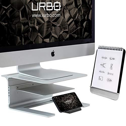 Urbo Pico Ergonomische 4-in-1-Monitor Halterung mit Ablage für Dokumente und Zubehör, abnehmbare Handy Halterung und Dokumentenständer für saubere Schreibtische in Büros Arbeitsräumen