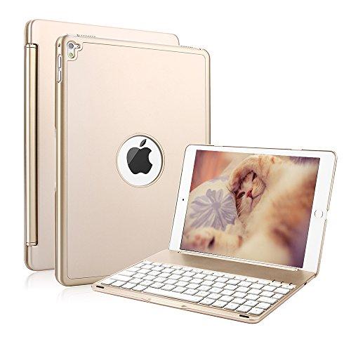 iPad air 2 Tastatur Hülle, KVAGO Ultra Dünn Smart Hard Shell Case Folio Cover mit 7 Farbe Bluetooth Hintergrundbeleuchtung QWERTY Tastatur und Auto aufwachen / Schlaf Funktion für Apple iPad air 2 (Gold) Portion Shell