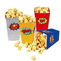24 Pcs Superhero Party Supplies Favors Superhero Party Popcorn Boxes Cardboard Candy Container for Birthday Theater Themed Parties Movie Nights Carnivals (Dot)