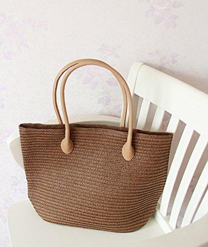 GUMO-Borsa da spiaggia, borsa di paglia, grande capacità, sacchetto di canna, sacchetto di tessuto, borsetta, borsa vacanze,bianco Brown