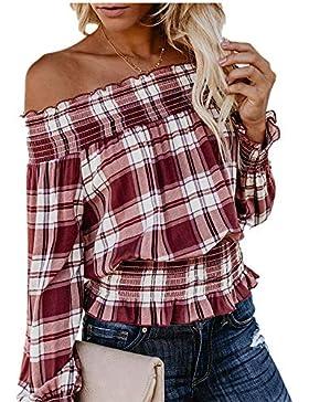 VJGOAL Mujeres Otoño Moda Casual Sexy Hombros a la Vista Orejas de Madera Dulce Camisetas de Manga Larga Blusa...
