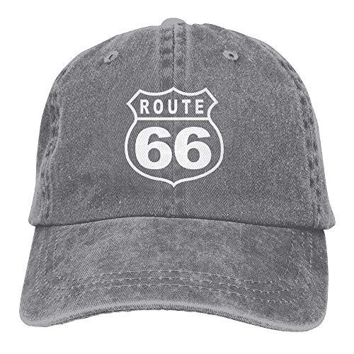 Zhgrong Caps Route 66 Vacation Highway Road Sign Washed Retro Adjustable Denim Hats Trucker Hats for Women and Men Trucker Cap (Günstige Echte Waffen)