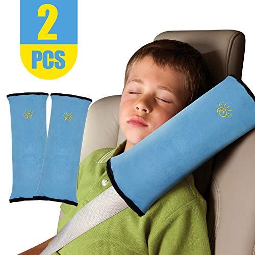2pcs Gurtpolster für Kinder Autositze Schlafkissen Nackenstütze Baby Kinder Gürtel Pillow Kissen Schulter Schutz Kopf-Stützkissen für Autofahrten Erwachsene(Blaue Schulter)