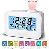 Hangrui Projektions-Wecker, Digital-Projektions-Uhr Kinderzimmer-Uhren mit Sprachsteuerung Weiche LED-Akustik-Sendung Snooze-Temperatur perfekt für Schlafzimmer Wohnzimmer und Büro