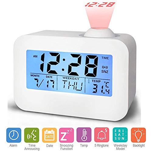 Hangrui Reloj Despertador de proyección Digital, Reloj con Pantalla LCD Control de Voz Sonido de transmisión con Fecha,de Temperatura y función de Despertador para habitación,Oficina,Estudio (Blanco)