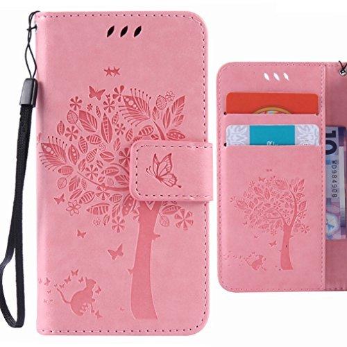 Ougger Handyhülle Microsoft Lumia 640 LTE Hülle Tasche, Glückliches Blatt BriefHülle Tasche Schale Schutzhülle Leder Weich Magnetisch Stehen Silikon Cover mit Kartenslot (Rosa)