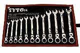 SYTO24, 12tlg. Gelenk-Ratschen-Schlüssel, Maul-Schlüssel-Satz, 72 Zähne - 5° Rückstellwinkel, SW: 8-19mm, Ringratschen aus Chrom-Vanadium-Stahl, stufenloser Gelenkwinkel