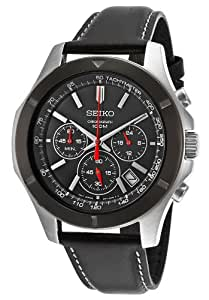 Seiko SSB111P2 Stainless Steel Chronograph Black Leather Strap Watch