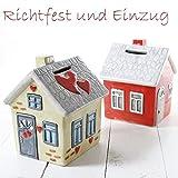 Spardose Haus Einzug Richtfest mit Schloss in beige oder rot (rot)