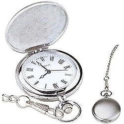 L&L® Men's Silver Vintage Hollow Steampunk Mechanical Analog Quartz Pocket Watch Fob Gift