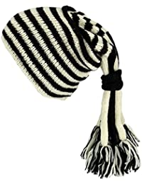 SLOUCH BEANIE HIPPIE TASSEL HAT Wool Knit Fleece Lined BLACK & WHITE STRIPE