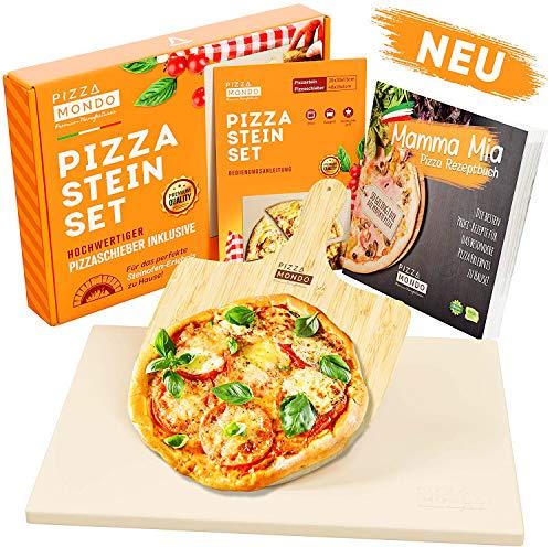 Pizza Mondo® Pizzastein für Backofen, Grill & Gasgrill (inkl. Pizzaheber & Rezeptbuch) Original Pizza Stein-ofen Erlebnis Dank Bester Qualität - Eckig 1,5 cm
