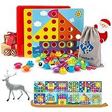 Steckspiel für Mädchen Jungen Holz Steckplatte inklusive Stecksymbole 21-teilig Holzspielzeug