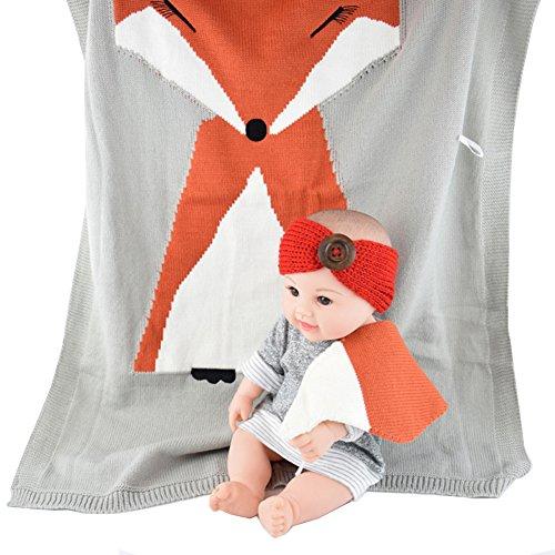 Amkun Baby Blanket Newborn Fox Knitting Blanket Bedding Quilt For Bed Sofa Wool Newborn Photography Props Blanket (Light Gray)