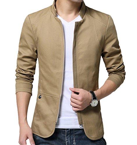 LeeHaru Homme Veste Blazer Vestons Slim Fit Costume Jacket Blouson Casual - Kaki - Taille Large (Poitrine 114cm)