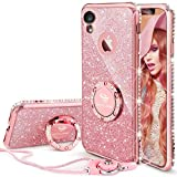 OCYCLONE Coque iPhone XR, [1 Coque+ 1 lanière] Paillette Strass Brillante Bling Bling Glitter Housse Etui Protection Case avec 360° Ring Stand pour Apple iPhone XR 6.1' (2018) - Or Rose