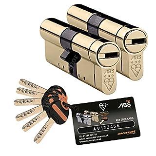Avocet TS007 3 Star Sicherheitszylinder, mit Schlüssel, 40 mm Innendurchmesser, 40 mm Außendurchmesser, Messing
