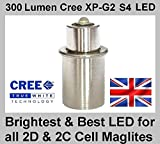 TTS Maglite Torch Flashlight CREE LED Bulb Brightest LED Upgrade for 2C or 2D Cell