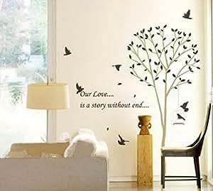 Stickers muraux peintures murales de Sticker mural Arbre roman oiseaux pour chambres salon décoration murale «Notre amour est ... une histoire sans mettre fin à