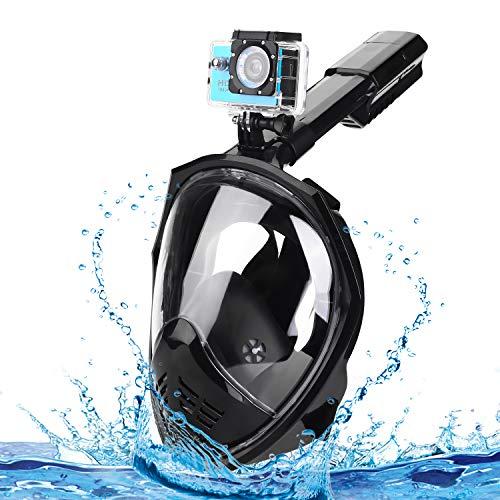 Speedsporting Maschera da Snorkeling 180 Panoramico Viso con Inserti Auricolari Nuoto Immersione Antiappannante Maschera Facciale (Noir, L/XL)