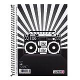LANDRE 400093146 Collegeblöcke Music und Stars 5er Pack A5+ liniert mit Rand 2 Motive sortiert Boombox und weiße Sterne