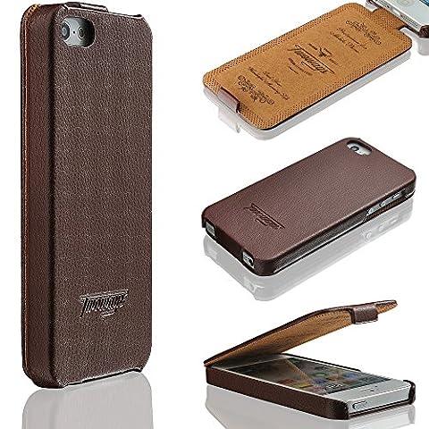 iPhone SE / 5s / 5 Hülle - ECHT LEDER - hochwertige Prägungen ULTRA DÜNN - weicher Displayschutz - für iPhoneSE / 5s / 5 - Schutzhülle im Flip Cover Design von TWOWAYS - Handyhülle in