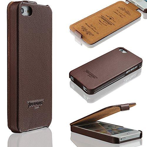 iPhone SE / 5s / 5 Hülle - ECHT LEDER - hochwertige Prägungen ULTRA DÜNN - weicher Displayschutz - für iPhoneSE / 5s / 5 - Schutzhülle im Flip Cover Design von TWOWAYS - Handyhülle in Braun (Iphone 5s Braun Leder Flip Case)