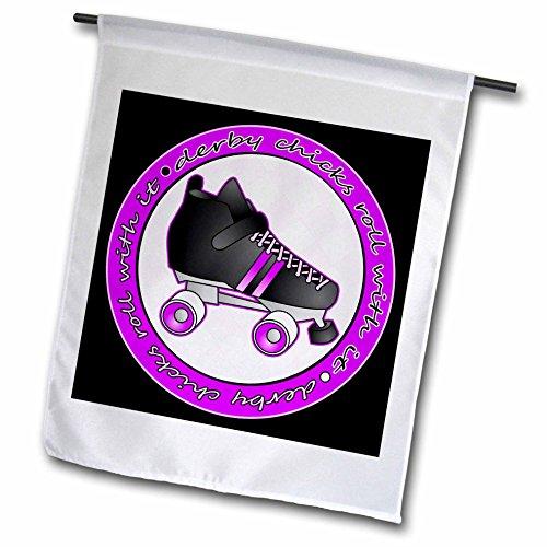 3drose FL _ 28510_ 2,5cm Derby Küken Rolle mit IT lila und schwarz mit schwarz Roller Skate