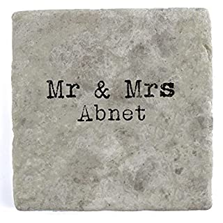 Mr & Mrs Abnet - Single Marble Tile Drink Coaster