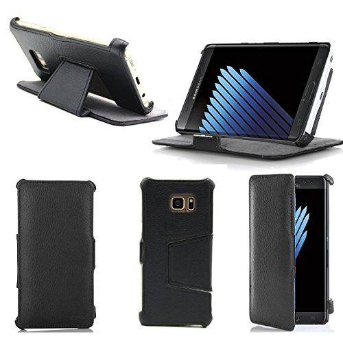 Ultra Slim Tasche Leder Style Samsung Galaxy Note 7 (LTE / 4G) Hülle Schwarz Cover mit Stand - Zubehör Etui Galaxy Note 7 SM-N930/SM-N30F Dual SIM 2016 Flip Case Schutzhülle (PU Leder, Schwarz) - XEPTIO accessoires