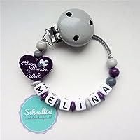 Schnullerkette mit Namen Herz Kleines Wunder der Welt Gravur Geschenk Taufe Geburt Silikonring individuell Stern   Mädchen Lila Namenskette