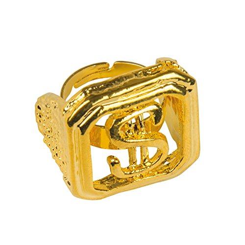 NEU Ring Dollarzeichen, gold (Kinder Für Kostüm Rapper)