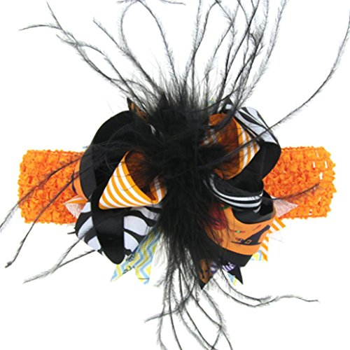 ZIYOU Mode Halloween Kopfschmuck Baby Mädchen Feder Bowknot Haarnadel (Schwarz) (Camouflage Headwrap)