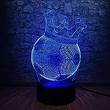 WangZJ 3d Illusion Lampe/Stimmung Nachtlicht / 7 wechselnden Farben Touch Nachtlicht/Jungen Spielzeug Geschenk/Schlafzimmer Dekor/Fußball Kaiserkrone