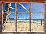 Stil.Zeit Rete di pallavolo sulla Spiaggia, Finestra di Adesivi murali 3D Formato: Decorazione della Parete 62x42cm 3D Adesivi da Parete Decalcomanie