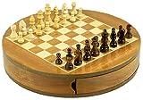 Schach-Spiel rund aus Holz 30 cm, magnetisch, edle Ausführung mit ausklappbaren Fächern - Holz-schachspiel
