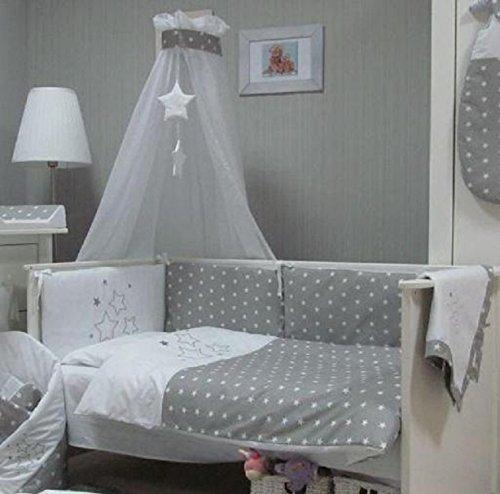 Babymajawelt® Baby Bettwäsche Set, Bett Set 4 tlg. VOILE fürs BABYBETT 70x140 cm, Bettwäsche 100x135, Nestchen, Himmel Voile (Baldachim, Moskito) (STARS grau)