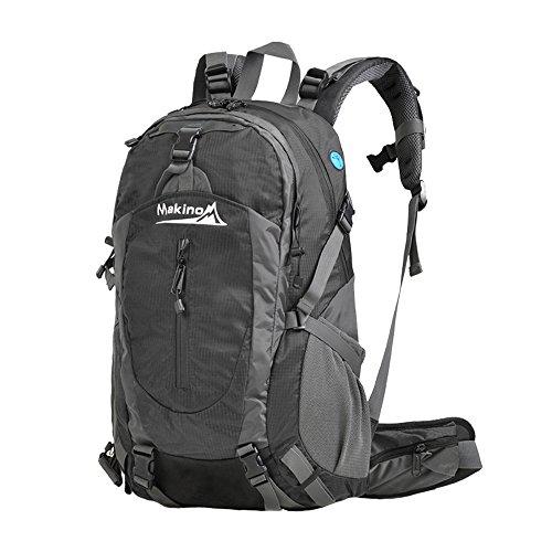 MAKINO Outdoor Sports Camping Wandern Wasserdicht Rucksack Daypacks Bergsteigen Tasche 40L 45L 50L Travel Trekking Rucksack mit Regen Cover Schwarz
