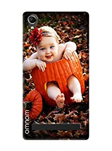 Omnam Very Cute Girl Sitting In Fruit And Smiling Desinger Back Cover Case For Intex Aqua Power Plus