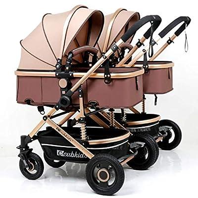 MRXUE Cochecito de bebé Doble Desmontable Cochecito Plegable Puede Sentarse reclinable Segundo niño Doble niño Cochecito 0-3 años de Edad