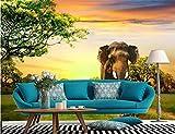 Wemall Carta da parati personalizzata 3D Decorazione domestica carta da parati murales Carta da parati 3D elefante paesaggio sfondo muro foto murale, 400x280 cm (157,5 per 110,2 in)