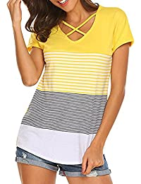Damark(TM) Ropa Camisetas Mujer, Camisas Mujer Verano Elegantes Stripe Casual Tallas Grandes