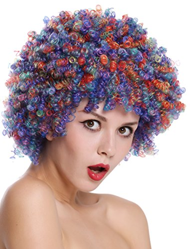 WIG ME UP - SZL-001-colorful Perücke Damen Herren Clown Clownsperücke Afro Locken Halloween Karneval bunt